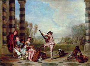 Les Charmes de la vie (The Delights of Life) by French rococo artist Antoine Watteau in 1718